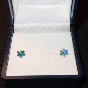 AB Swarovski Crystal Flower Ear Stud
